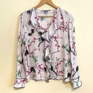 Zara Crane & Blossom Asian Inspired Ruffle Blouse
